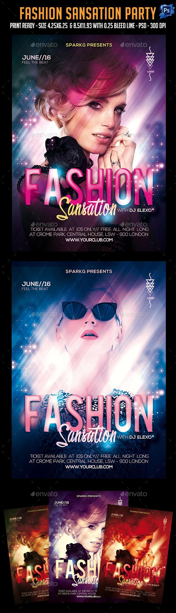 Fashion Sansation Party Flyer - Clubs & Parties Events