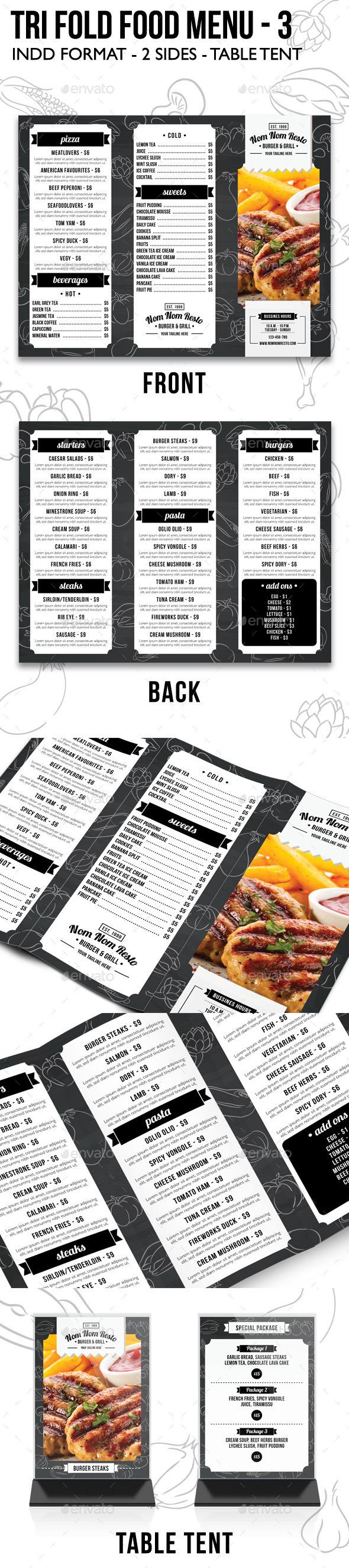Tri Fold Food Menu - 3 - Food Menus Print Templates