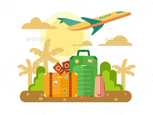 Summer Vacation Travel Flat Illustration - Travel Conceptual