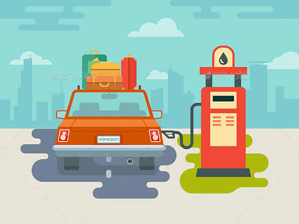 Refuel Car at Gas Station - Travel Conceptual