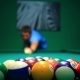 Start Game Blurred Man Lines To Hit Ball On Pool - VideoHive Item for Sale