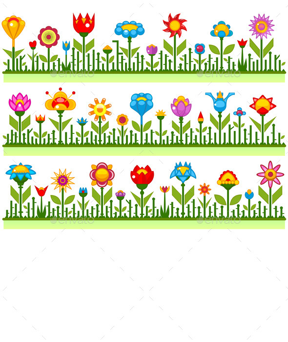 Floral Borders with Abstract Flowers - Flowers & Plants Nature