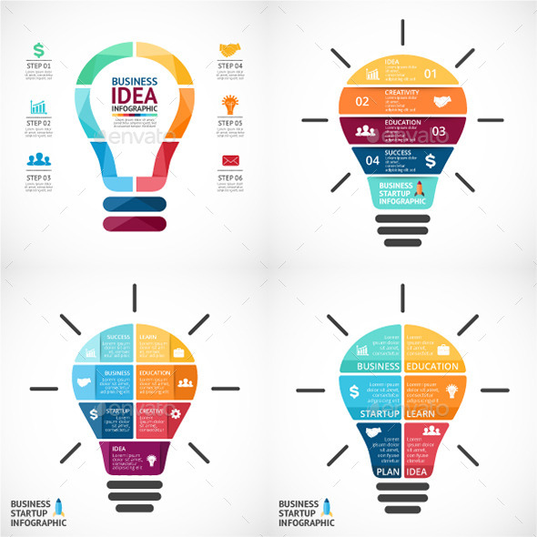 4 Light Bulbs Infographics - Infographics