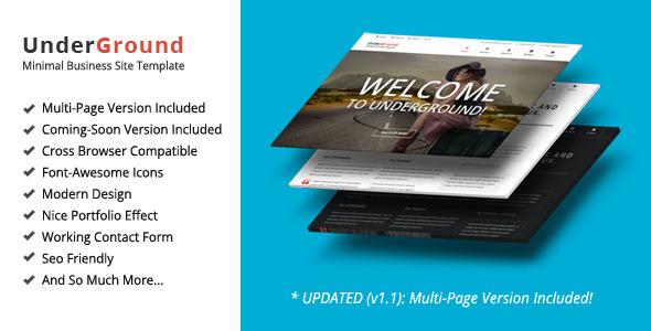 UnderGround – Minimal Onepage & Multipage Template