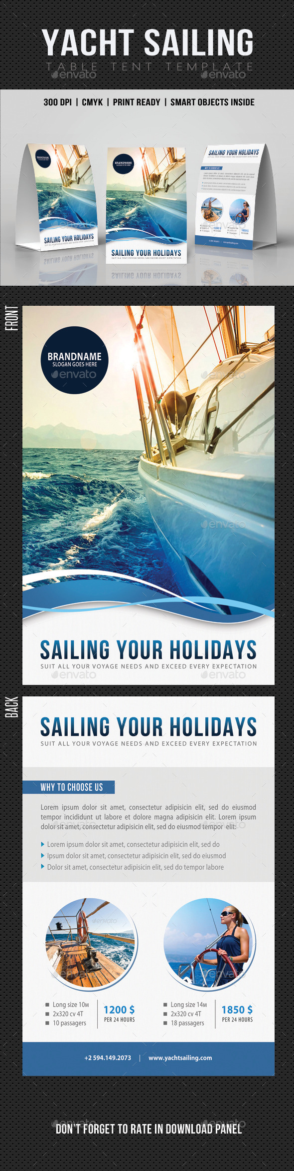 Sailing Yacht Travel Table Tent V05 - Miscellaneous Print Templates