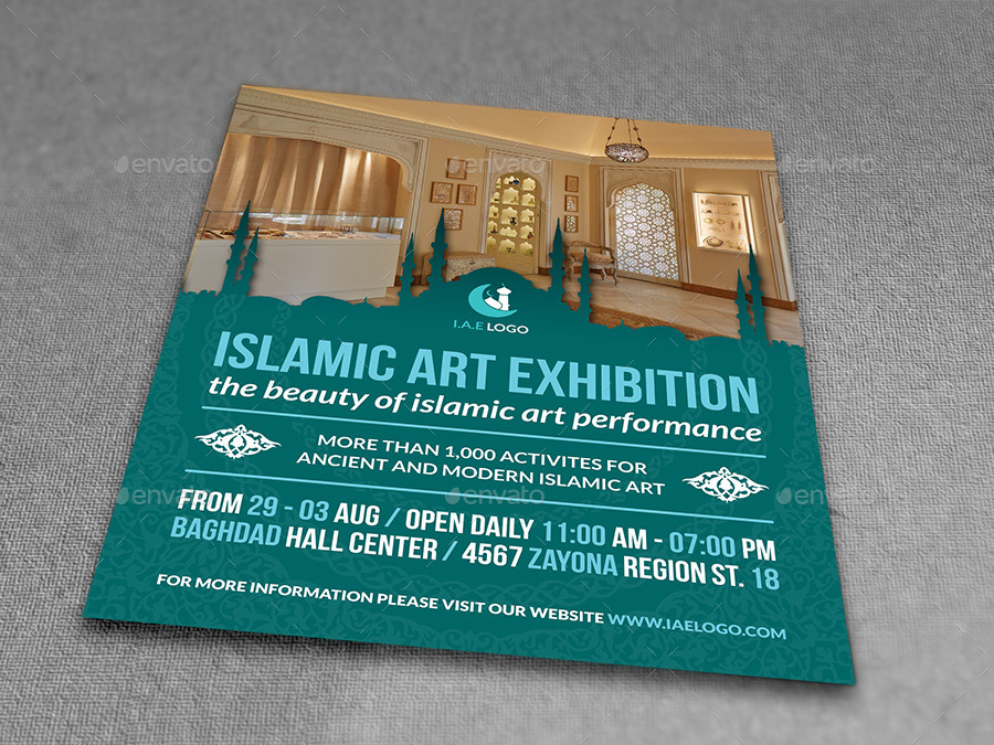 islamic art exhibition flyer template by owpictures