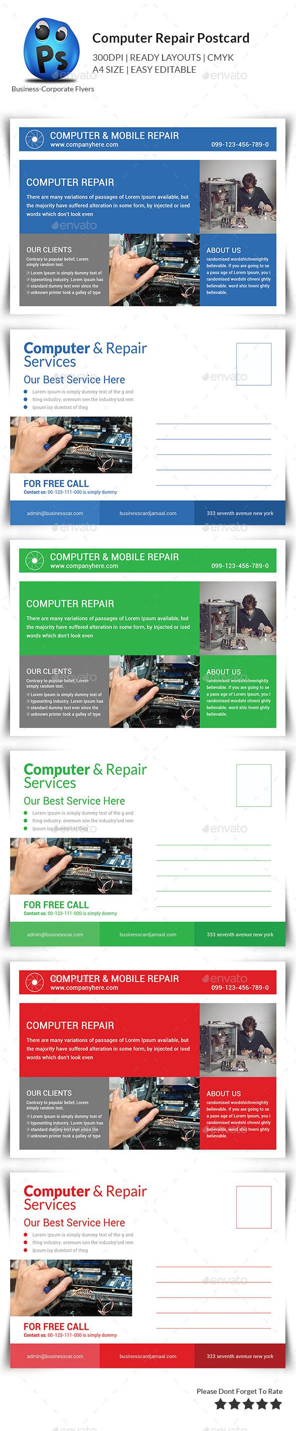 Computer Repair Postcard Templates  - Cards & Invites Print Templates