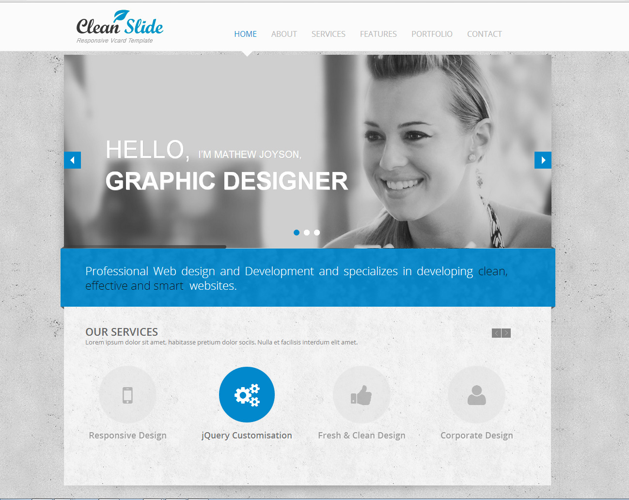 clean slide responsive html template vcard by accurathemes