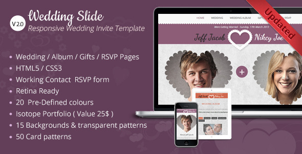 Wedding Slide Responsive Wedding Invite Template