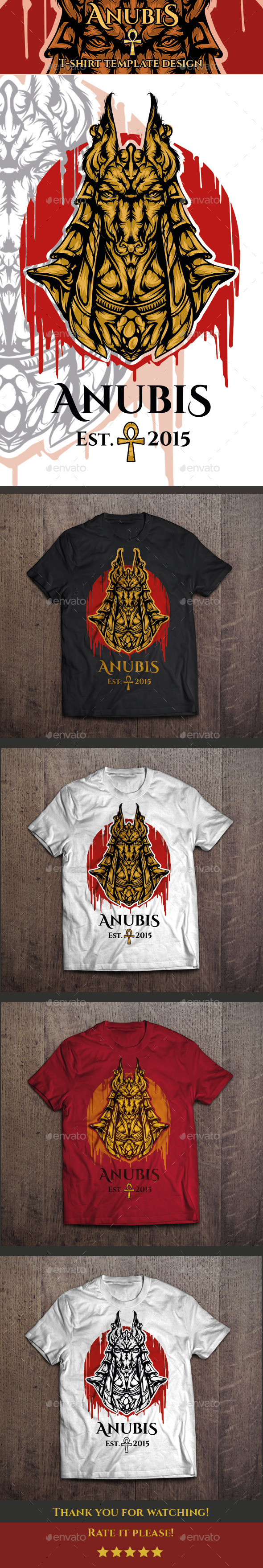 Anubis T-shirt Template - Clean Designs