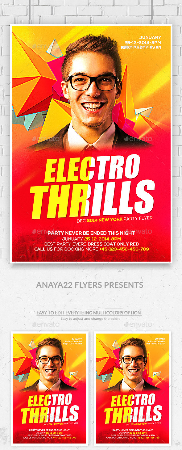 Electro DJ Flyer PSD  - Clubs & Parties Events