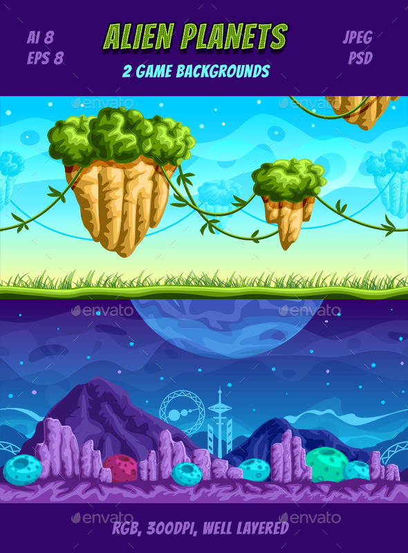 Alien Planets Game Backgrounds - Backgrounds Game Assets
