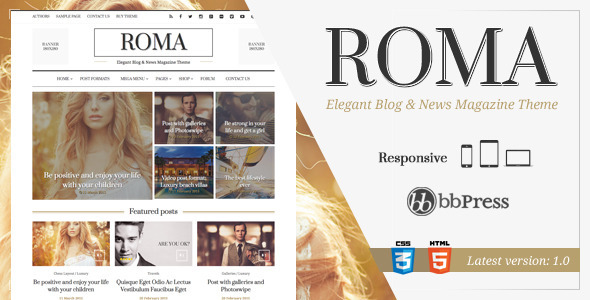 ROMA – Elegant Blog & News Magazine Theme