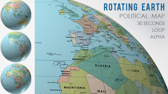 A Political Map Of The World.Rotating Globe World Political Map