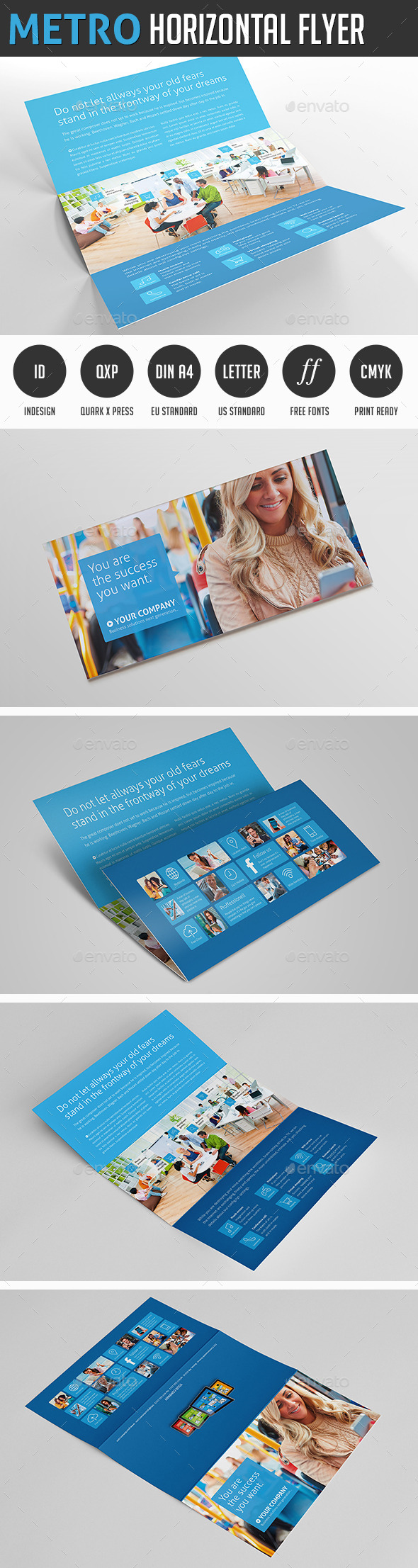 Metro Horizontal Tri-fold Flyer - Corporate Brochures