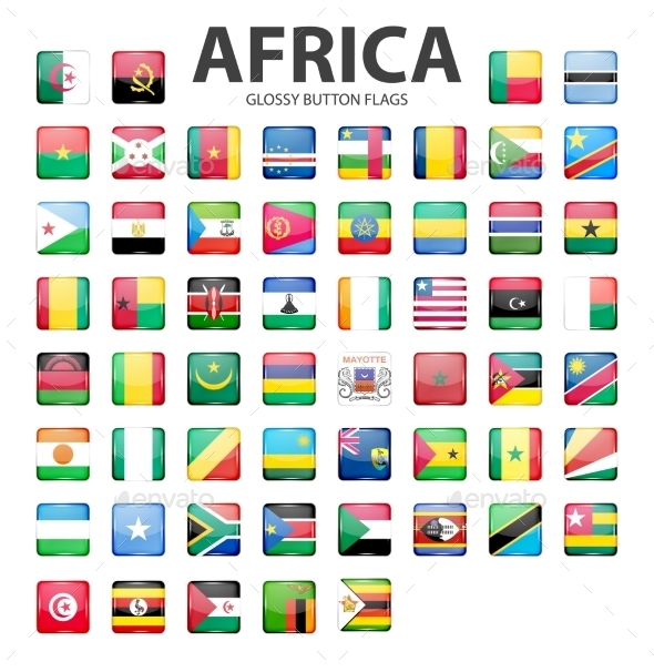 Glossy Button Flags - Africa. Original Colors.  - Web Elements Vectors