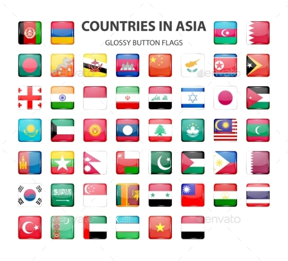Glossy Button Flags - Asia. Original Colors.  - Web Elements Vectors