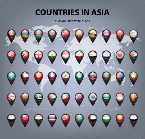 Map Markers With Flags - Asia. Original Colors.  - Web Technology