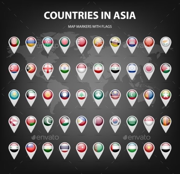 Map Markers With Flags - Asia. Original Colors.  - Web Elements Vectors