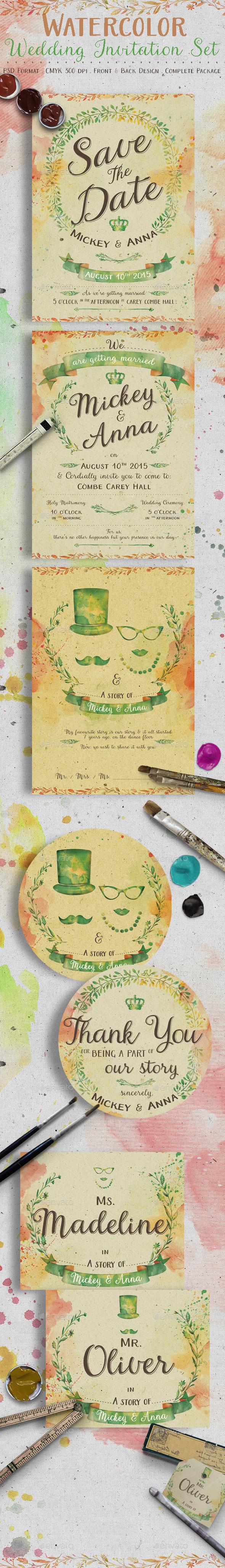Watercolor Wedding Invitation Set - Weddings Cards & Invites