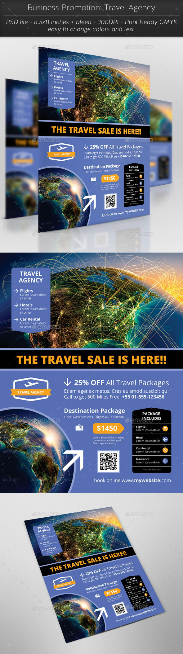 Business Promotion: Travel Agency - Flyers Print Templates