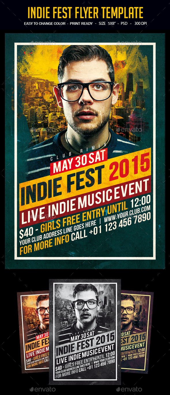 Indie Fest Flyer Template - Clubs & Parties Events