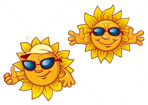 Cartoon Summer Suns With Welcome Open Arms - Seasons Nature