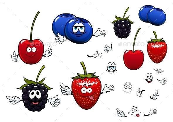 Strawberry, Blackberry, Cherry, Blueberry Fruits - Food Objects