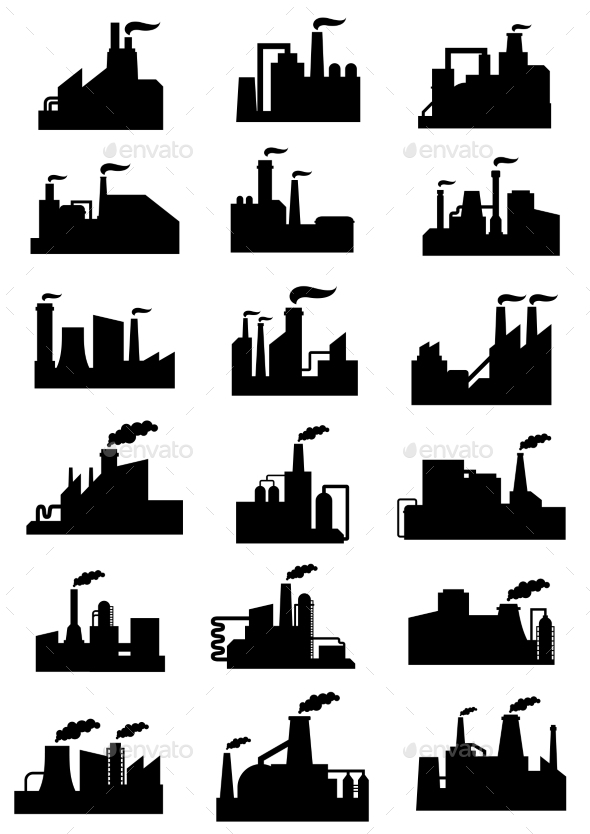 Industrial Factories And Plants Black Icons - Industries Business