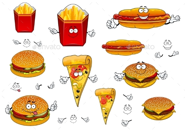 Fast Food French Fries, Pizza, Hotdog And Burgers - Food Objects