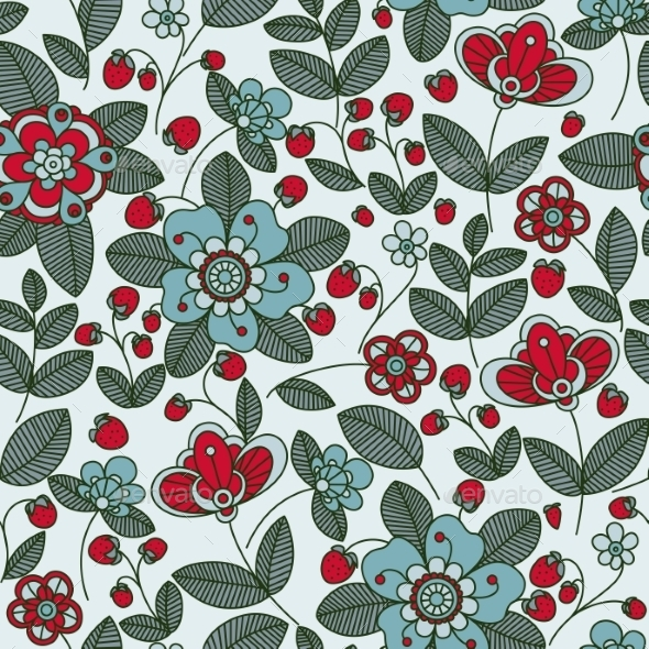 Strawberry Berries And Flowers Seamless Pattern - Backgrounds Decorative