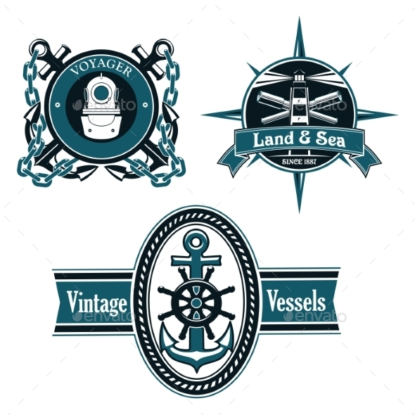 Vintage Nautical Emblems With Marine Elements - Decorative Symbols Decorative