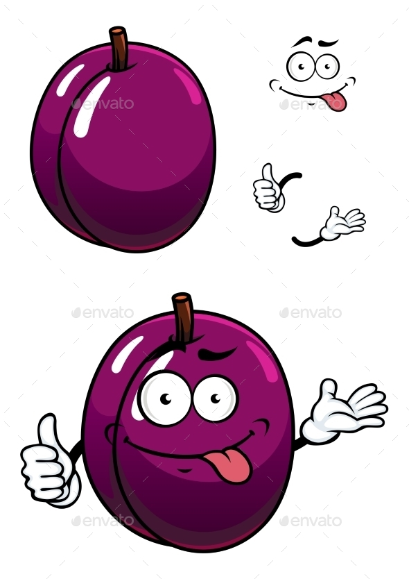 Cartoon Purple Plum Fruit With Thumb Up - Food Objects