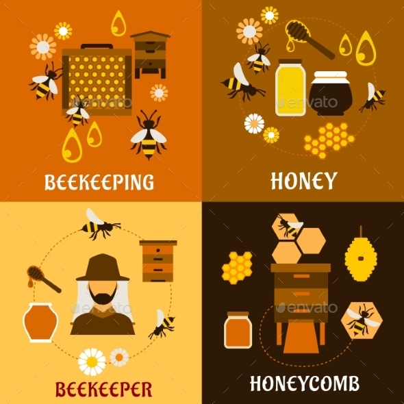 Honey Concept With Bees, Beehives And Honeycombs - Industries Business