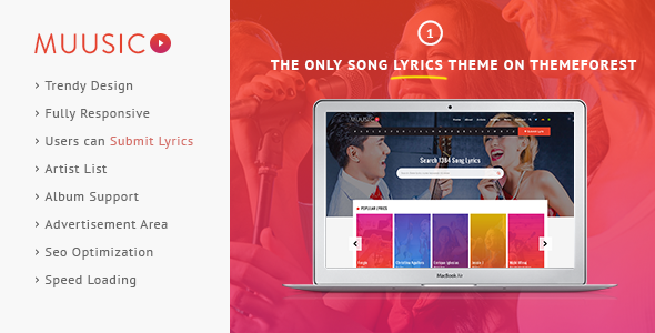 Muusico – Song Lyrics WordPress Theme