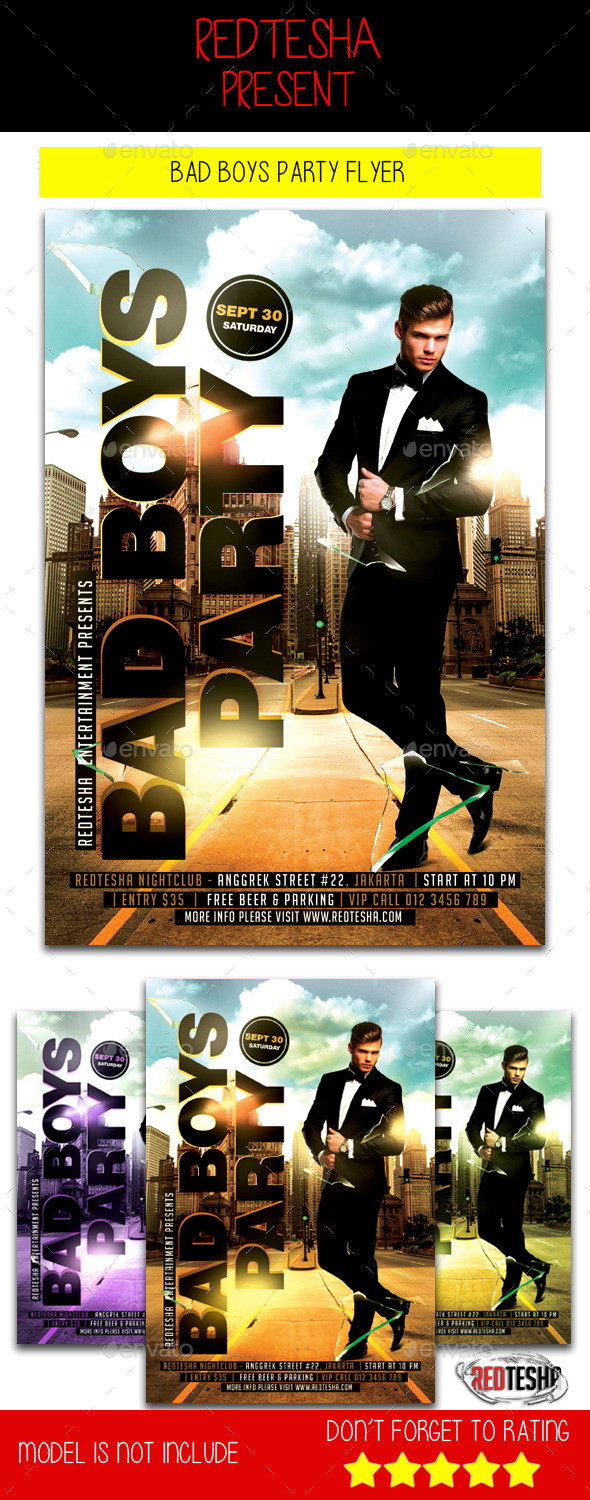 Bad Boys Party Flyer - Clubs & Parties Events