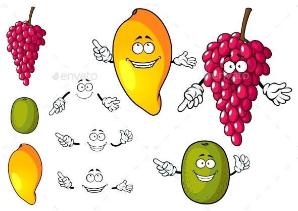 Cartoon Mango, Grape And Kiwi Fruits - Food Objects