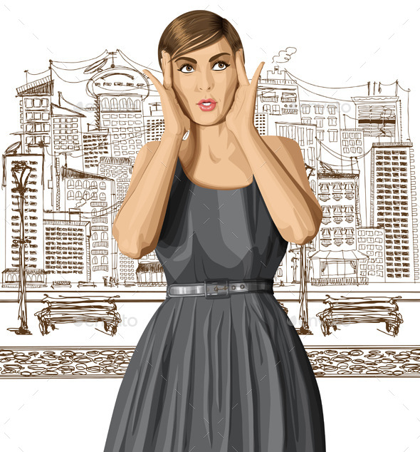 Vector Surprised Girl in Dress - People Characters