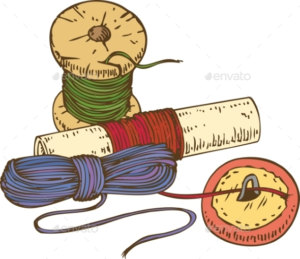 Three Color Spools Of Thread And Button - Miscellaneous Vectors