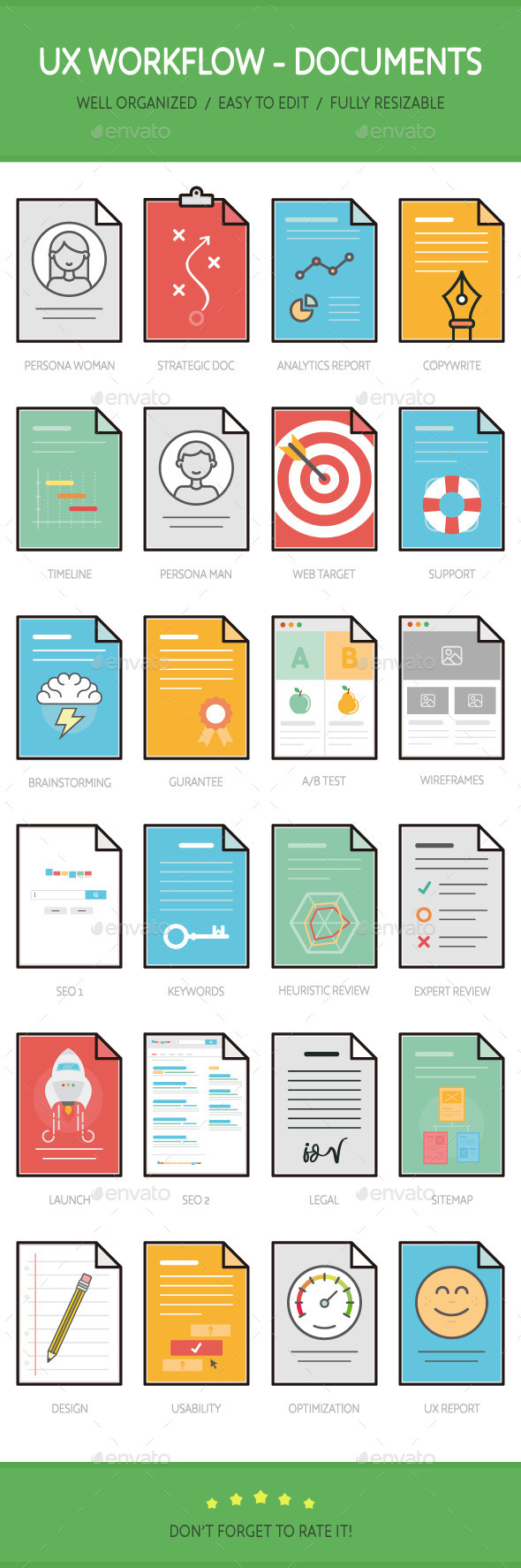 UX Workflow - Documents - Media Icons
