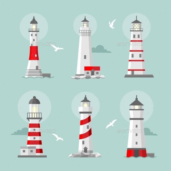 Vector Set Of Cartoon Flat Lighthouses  - Buildings Objects