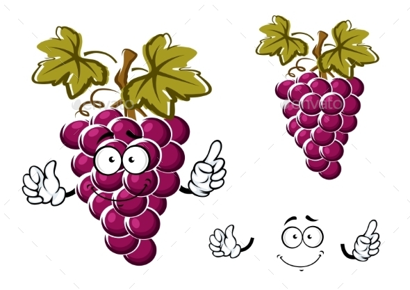 Cartoon Purple Grape Fruit Character - Food Objects