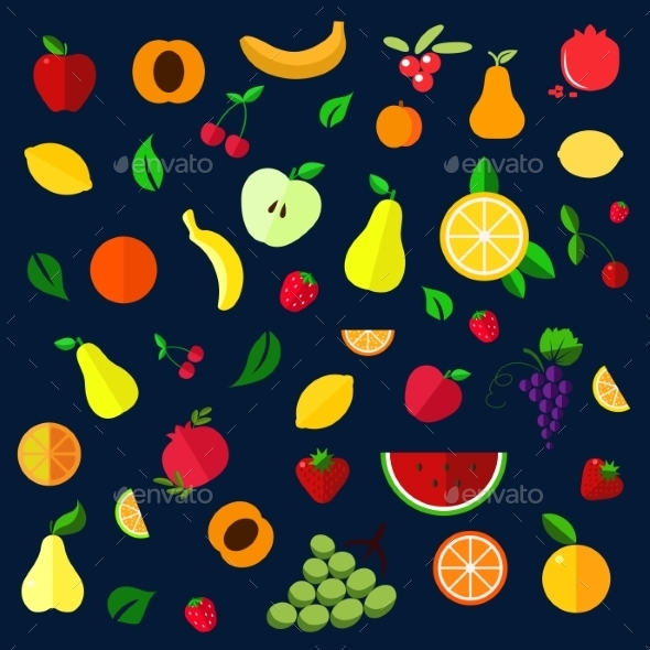 Fruits And Berries Flat Icons - Food Objects