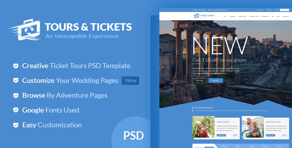 Tours & Tickets – Creative PSD Template