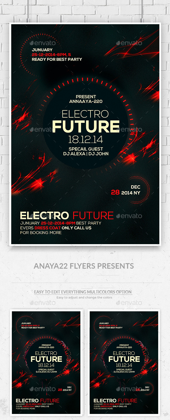Electro Future Concert Flyer  - Clubs & Parties Events
