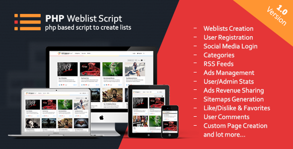 PHP Web List Script - CodeCanyon Item for Sale