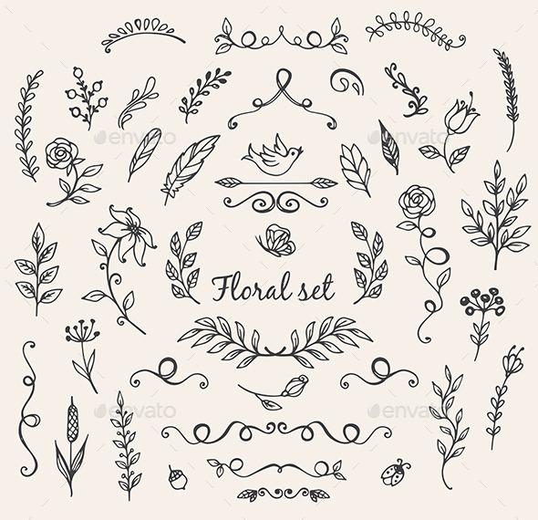 Doodle Nature Design Elements - Decorative Symbols Decorative