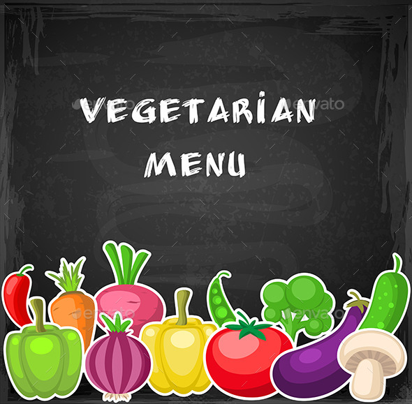 Vegetables on a Chalkboard - Food Objects