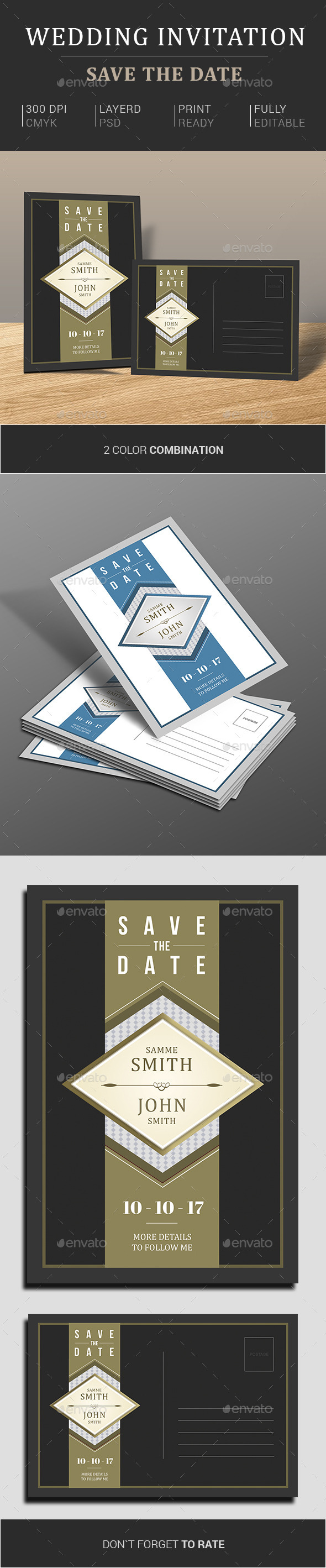 Wedding Invitation & Save The Date - Cards & Invites Print Templates