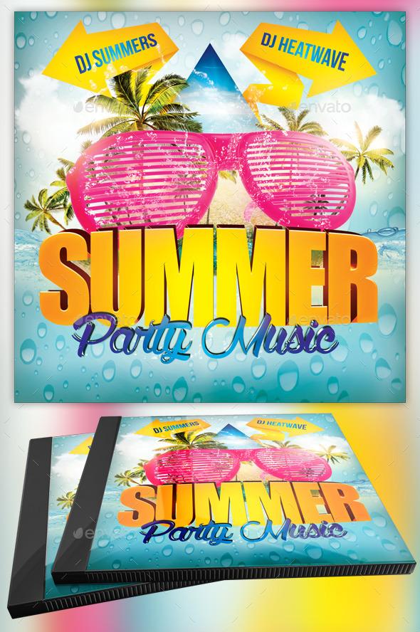 Summer Party Music CD Template - CD & DVD Artwork Print Templates